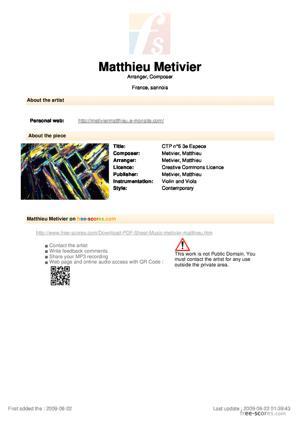 Sheet Music Contrepoint n°6 - 3e Espèce + nappes synthétiques optionnelles