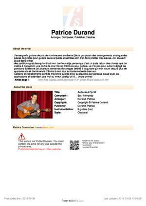 Sheet Music Andante 4 Op 31