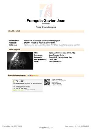 Sheet Music Epitre aux Hébreux