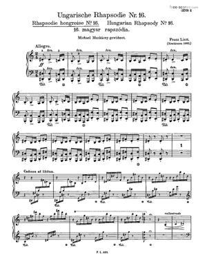 Sheet Music Hungarian Rhapsody No. 16 in A minor, Magyar rhapsodia