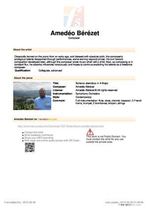 Sheet Music Scherzo atematico in A Major
