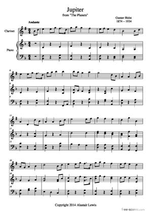 """Sheet Music Jupiter (from """"The Planets"""")"""