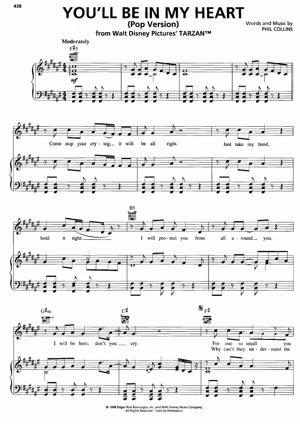 Sheet Music Phil Collins (From Tarzan) - You'll Be In My Heart