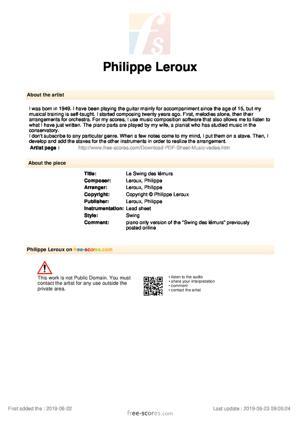 Sheet Music Le Swing des lémurs piano only)