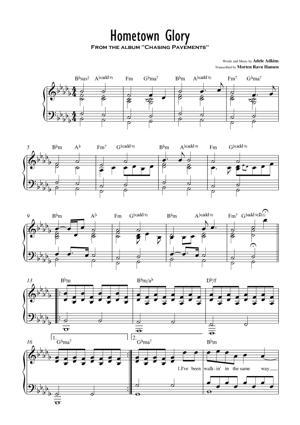 Sheet Music Adele - Hometown Glory