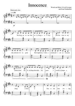 Sheet Music Avril Lavigne - Innocence