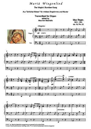 Sheet Music The Virgin's Slumber-Song (Mariä Wiegenelied) - Organ solo transcription