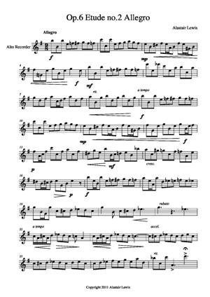 Sheet Music Op.6 Etude no.2 Allegro