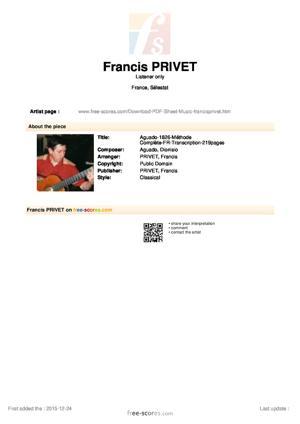 Sheet Music Aguado-1826-Méthode Complète-FR-Transcription-219pages