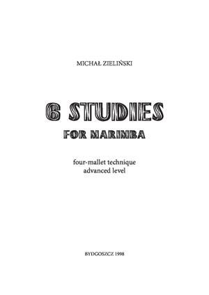 Sheet Music 6 Studies for Marimba