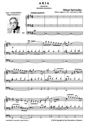 "Sheet Music Aria from Organ Concerto n.1 ""Cassandra"""