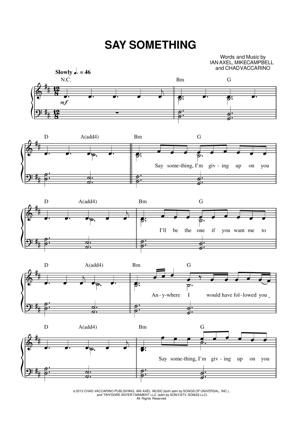 Sheet Music A Great Big World withChristina Aguilera - Say Something