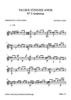 Sheet Music lauro vals venezolano nº2 andreina