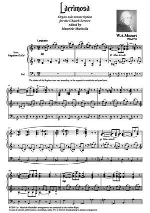 Sheet Music Lacrimosa. Organ solo transcription for the Church service.