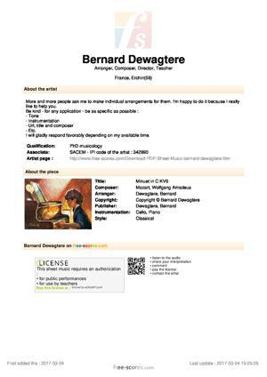 Sheet Music Minuet in C KV6