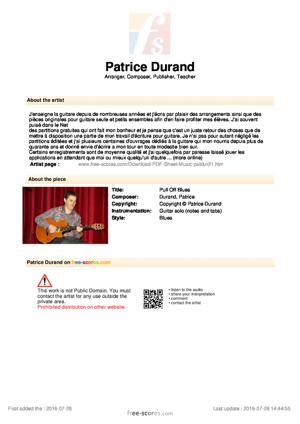 Sheet Music Patrice Durand - Pull Off Blues