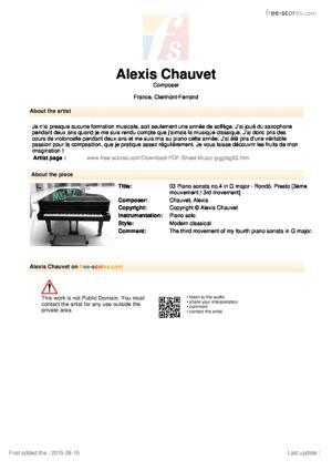 Sheet Music 02 Piano sonata no.4 in G major - Menuetto al rovescio
