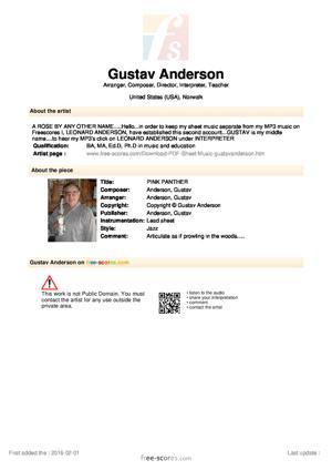 Sheet Music Gustav Anderson - PINK PANTHER