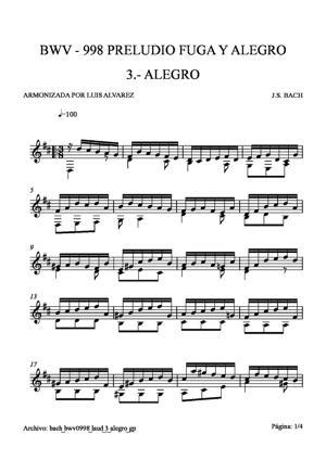 Sheet Music bach bwv0998 laud 3 alegro