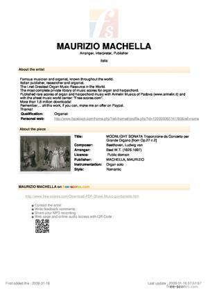 """Sheet Music Adagio from """"moonlight Sonata"""". Transcribed for Concert Organ solo"""