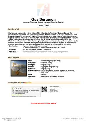 Sheet Music George Gershwin - Summertime