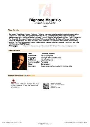 Sheet Music Bignone Maurizio - Letter from my heart