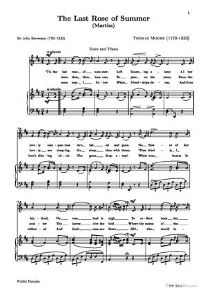 Sheet Music The Last Rose of Summer (Martha)