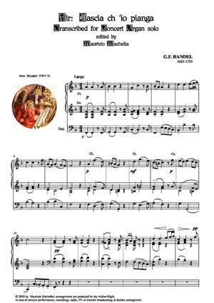 """Sheet Music Air: """"Lascia ch'io pianga"""". Organ transcription"""