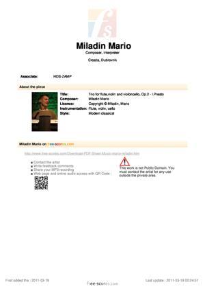 Sheet Music Trio for flute,violin and violoncello, Op.2 - I.Presto
