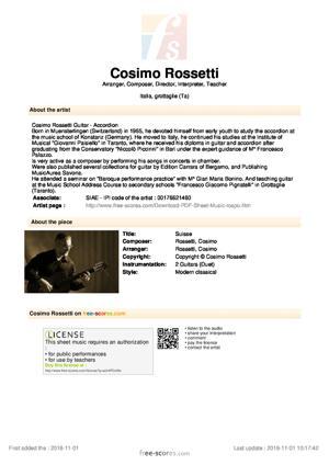 Sheet Music Suisse (Guitar Version)