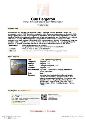 Sheet Music Guy Bergeron - Guten Tag Stravinsky