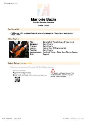 Sheet Music Concerto for 2 Violins