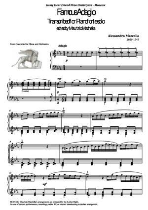 Sheet Music Famous Adagio. Transcribed for Pianoforte solo.