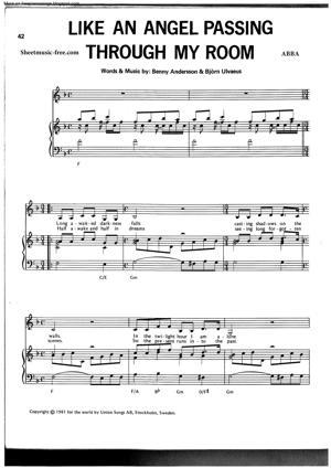 Sheet Music ABBA - Like An Angel Passing Through My Room