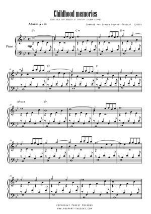 Sheet Music Chidhood memories / Piano Solo