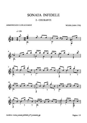 Sheet Music weiss sonata infidele nº2 courante