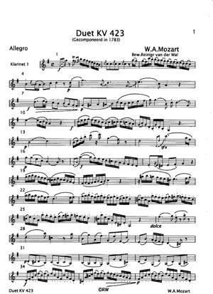Sheet Music Duet KV 423
