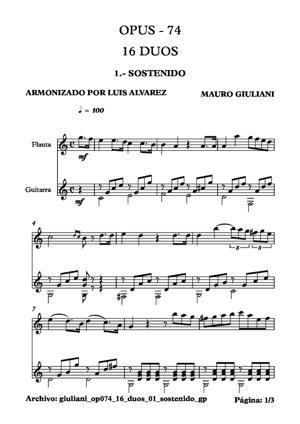 Sheet Music giuliani op074 16 duos 01 sostenido