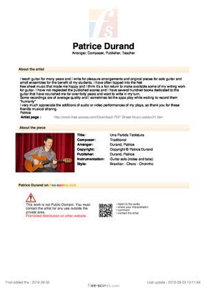 Sheet Music Una Partida Tablatura