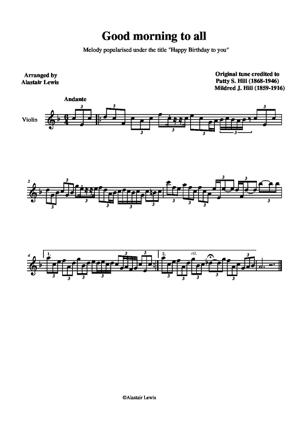 Sheet Music Good morning to all
