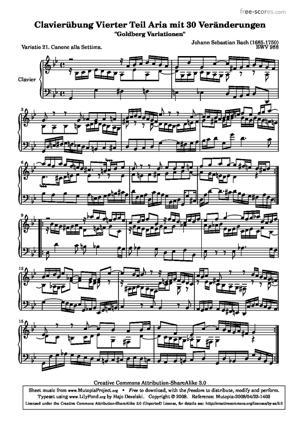 Sheet Music Goldberg Variations - 21
