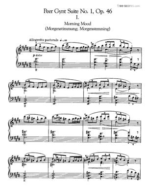 Sheet Music Peer Gynt Suite No.1 Op.46 - Piano reduction of No.1