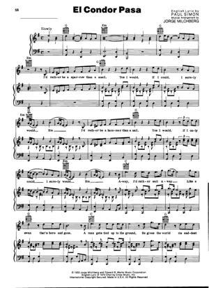 Sheet Music Simon and Garfunkel - El Condor Pasa (If I Could)