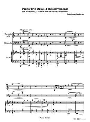 Sheet Music Piano Trio Opus 11 (1st Movement)