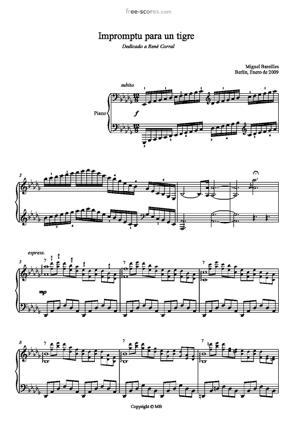 Sheet Music Impromptu para un tigre en un corral