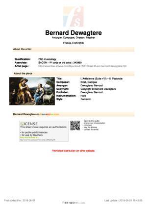 Sheet Music L'Arlésienne (Suite n°2) – 5. Pastorale