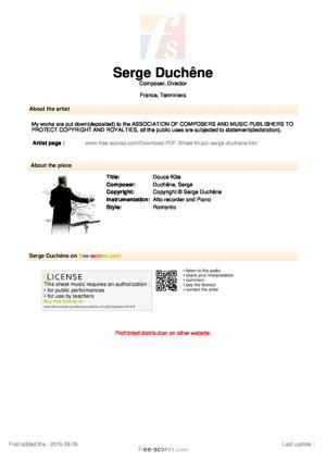 Sheet Music Douce flûte