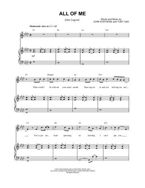 Sheet Music John Legend - All Of Me