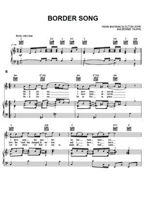 Sheet Music Elton John - Border Song