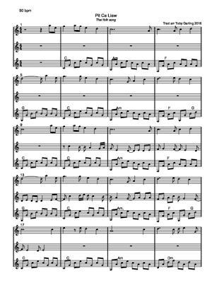 Sheet Music Pit Ca Liaw [Thai Folk Song]